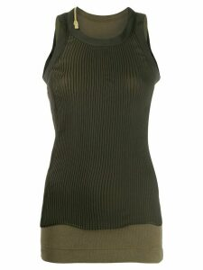 Sacai stretch fit jersey tank top - Green