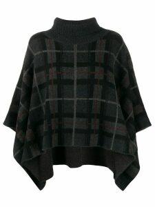 Le Kasha Argylle checked cashmere poncho - Black