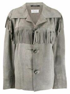 Maison Margiela fringed single-breasted jacket - Grey