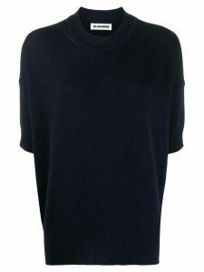 Jil Sander cropped sleeve jumper - Blue