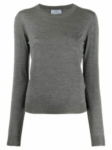 Prada long-sleeved virgin wool T-shirt - Grey