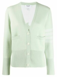 Thom Browne 4-Bar Dolphin Icon V-Neck Cardigan - Green