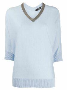 Steffen Schraut contrast v-neck knit top - Blue