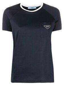 Prada contrast trim logo T-shirt - Blue