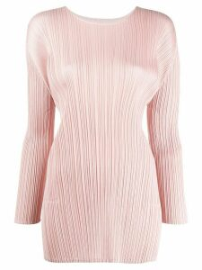 Pleats Please Issey Miyake long-sleeved pleated long line top - PINK