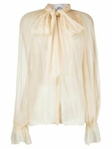 Atu Body Couture silk pussy bow blouse - NEUTRALS