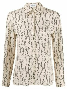 Salvatore Ferragamo logo print tailored shirt - NEUTRALS