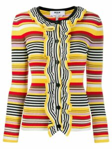MSGM striped ruffled cardigan - Yellow