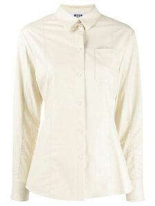 MSGM faux-leather fitted shirt - NEUTRALS