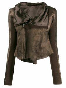 Rick Owens leather metallic biker jacket - Brown