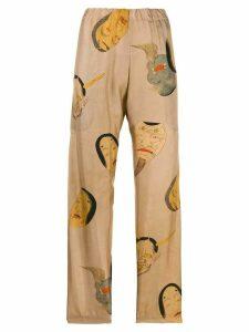 Uma Wang face-print pull-on trousers - NEUTRALS
