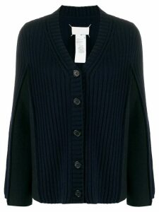 Maison Margiela rib-knit contrast sleeve cardigan - Blue