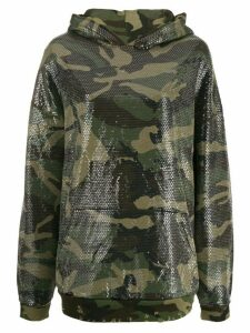 R13 camouflage embroidered hoodie - Green