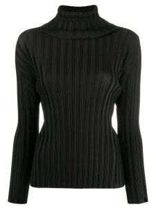 Pleats Please Issey Miyake pleated roll-neck top - Black
