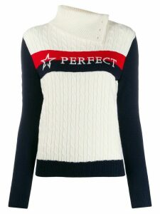Perfect Moment Super Stripes cable-knit jumper - White