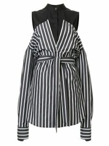 Strateas Carlucci cut-detail striped shirt - Black