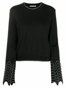 Marco De Vincenzo embroidered-cuffs crew-neck jumper - Black