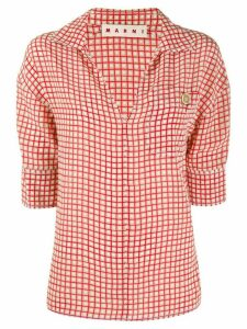 Marni Hive print chest pocket blouse - Red