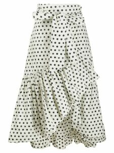 Pinko polka-dot print wrap midi skirt - White