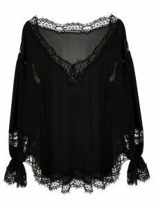 Ermanno Scervino long sleeve scalloped hem blouse - Black