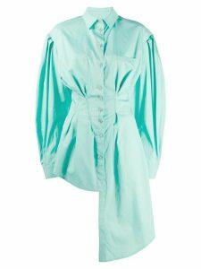 Natasha Zinko asymmetric lantern sleeve shirt - Green