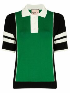 Plan C striped sleeve polo top - Green