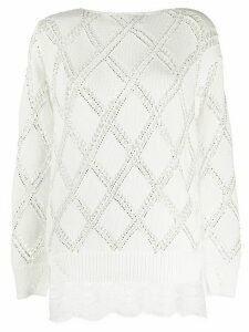 Ermanno Scervino embellished knit jumper - White