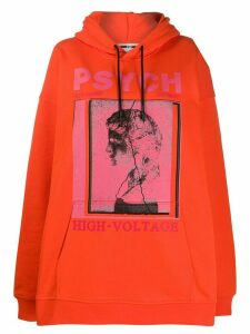 McQ Alexander McQueen oversized photo print hoodie - ORANGE