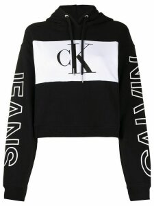 Calvin Klein Jeans colour-block cropped hoodie - BAE-CK Black/White/CK