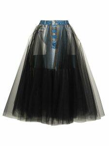 UNRAVEL PROJECT reverse-style denim tulle skirt - Blue