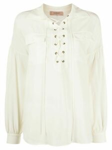 Twin-Set lace-up loose-fit blouse - NEUTRALS