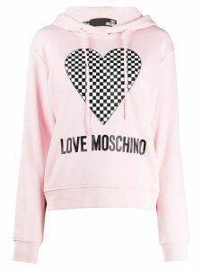 Love Moschino checkered heart-print hooded sweatshirt - PINK