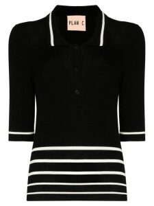 Plan C striped polo top - Black