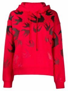 McQ Alexander McQueen Code Bird print hoodie - Red