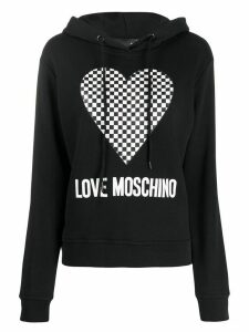 Love Moschino checkered heart-print hooded sweatshirt - Black