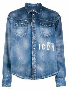 Dsquared2 Icon paint-splattered denim shirt - Blue