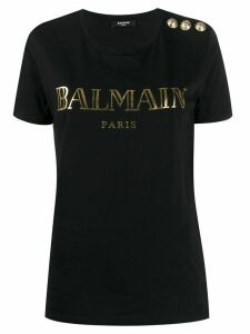 Balmain logo button-embellished T-shirt - Black