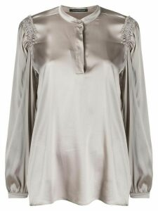 Luisa Cerano ruched shoulder detail blouse - Grey