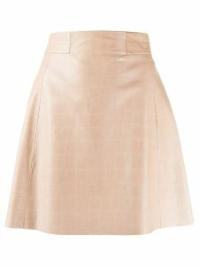 Drome crocodile-effect A-line mini skirt - PINK