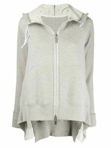 Sacai zip-up draped detail hoodie - Grey