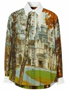 Burberry Castle print buttoned shirt - White