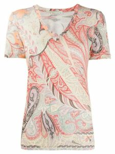 Etro paisley V-neck T-shirt - ORANGE
