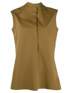Aspesi mandarin collar sleeveless blouse - Brown