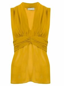 Etro v-neck silk blouse - Yellow