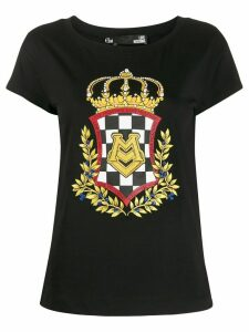 Love Moschino crown logo print T-shirt - Black
