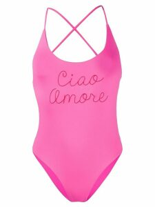 Giada Benincasa Ciao Amore embroidered one-piece - PINK