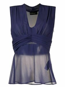 Etro sheer sleeveless fitted top - Blue