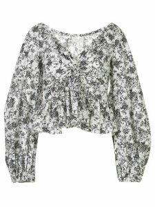 Caroline Constas floral print cropped blouse - White