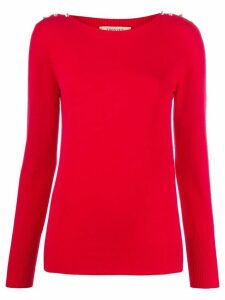 Twin-Set shoulder-crystal knit jumper - Red