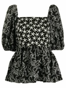 Stine Goya square neck star print blouse - Black